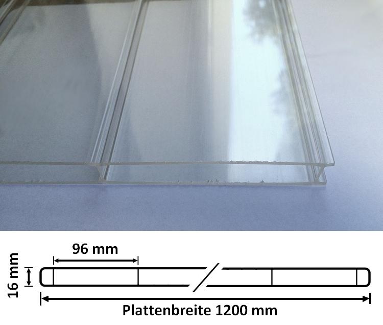 stegplatten 16 mm 64mm acrylglas glatt verschiedene breiten ebay. Black Bedroom Furniture Sets. Home Design Ideas