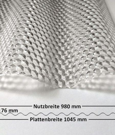 Lichtplatte Acryl 76/18 Sinus klar Wabenstruktur 3 mm mit Querschnitt