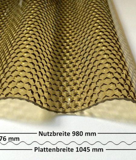Lichtplatte Acryl 76/18 Sinus bronze Wabenstruktur 3 mm mit Querschnitt