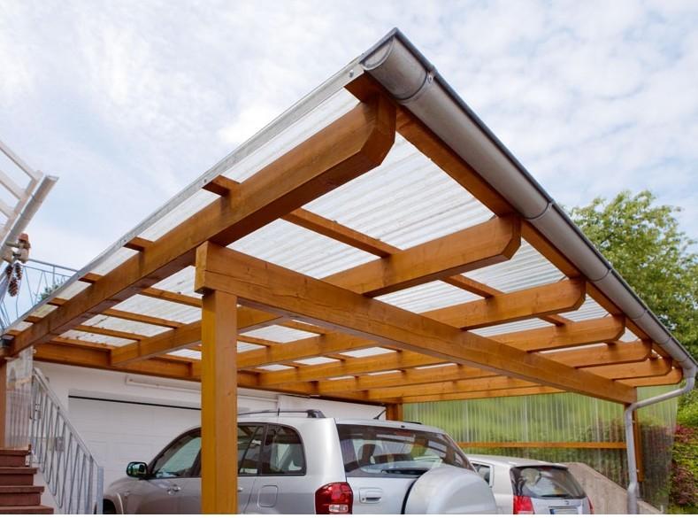 Carportüberdachung mit 3 mm Lichtplatten aus Acrylglas klar