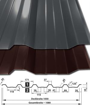 Trapezbleche Schokobraun RAL8017 Anthrazit RAL7016 Profil T-35DR mit Querschnitt