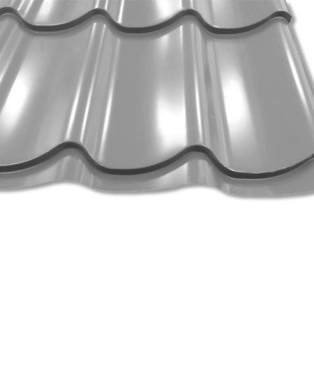 Pfannenblech Szafir 350/25 - 25 ym Polyester-Beschichtung - RAL9006 Weißaluminium