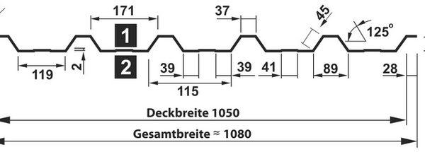 Querschnitt Trapezblech T-35DR/1050