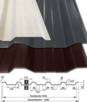 Trapezblech T-35DR/1050 - 0,40 mm Materialstärke - 25 µm Polyesterbeschichtung mit Vliesbeschichtung- alle Farben