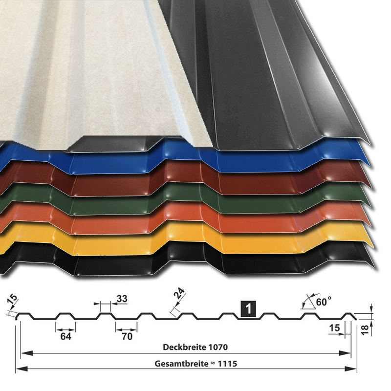 Trapezblech T-18M/1070 25 µm Polyester - Sammelfarben mit Vliesstoffbeschichtung