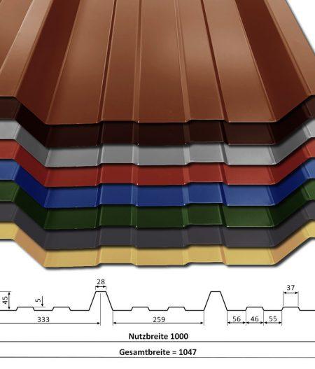 Alle Farben 25µm Polyester Profil T-45P/1000 Trapezblech Produktbild