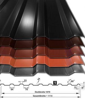 Trapezblech T-18M-1070 50µm Polyester - Sammelfarben