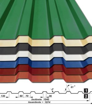 Trapezblech T-20/1040 - 25 my Polyester - 0,70 mm - alle Farben