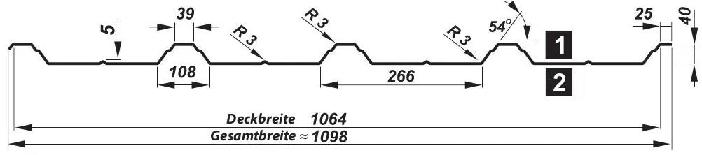 Trapezblech T-40/1064 - Querschnitt