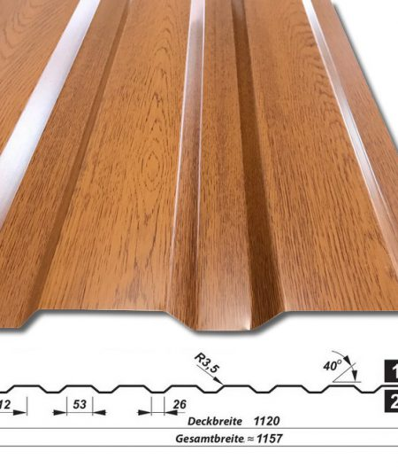 Trapezblech T-14/1120 - Golden Oak - Holzoptik - mit Querschnitt