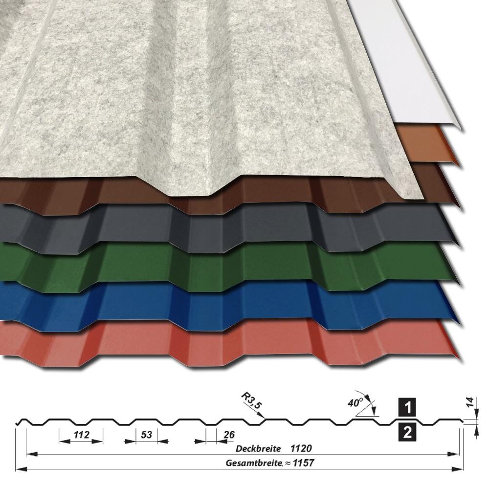 trapezblech dach 1 wahl 0 70 mm div farben t 14 1120 antitropf ebay. Black Bedroom Furniture Sets. Home Design Ideas