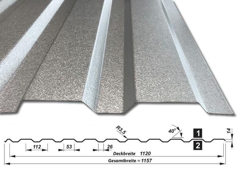Trapezblech T-14/1120 - ALUZINK - mit Querschnitt