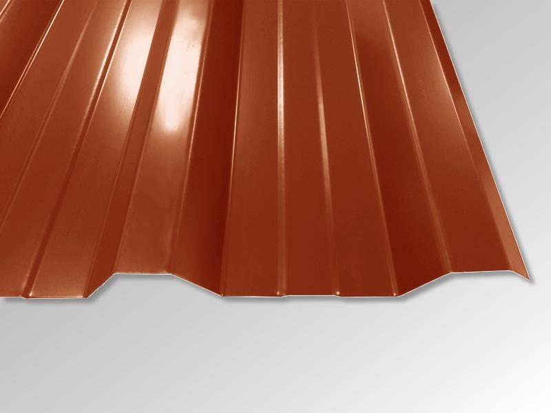 Trapezblech T-35DR/1050 - 0,50 mm - 25 µm Polyester Beschichtung - RAL8004 Ziegelrot