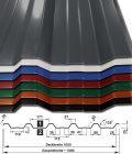 Trapezblech T-35DR/1050 - 25 µm Polyester-Beschichtung - mit Querschnitt - alle Farben