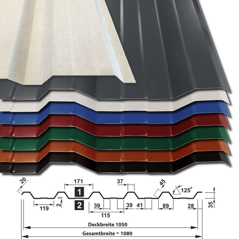 Trapezblech T-35DR/1050 - 25 µm Polyester-Beschichtung mit Vliesstoffbeschichtung - alle Farben