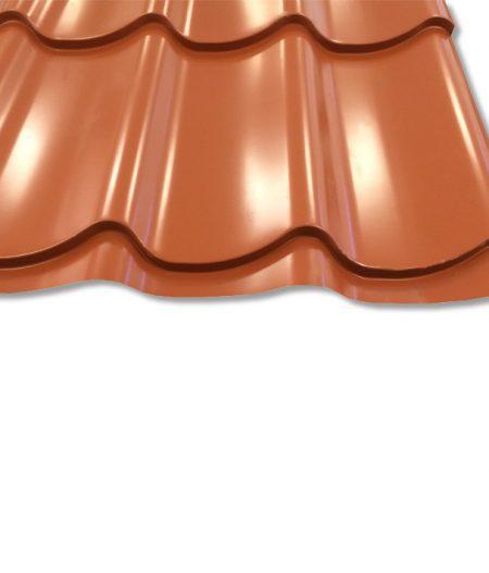 Pfannenblech Szafir 350/25 - 25 ym Polyester-Beschichtung - RAL8004 Ziegelrot