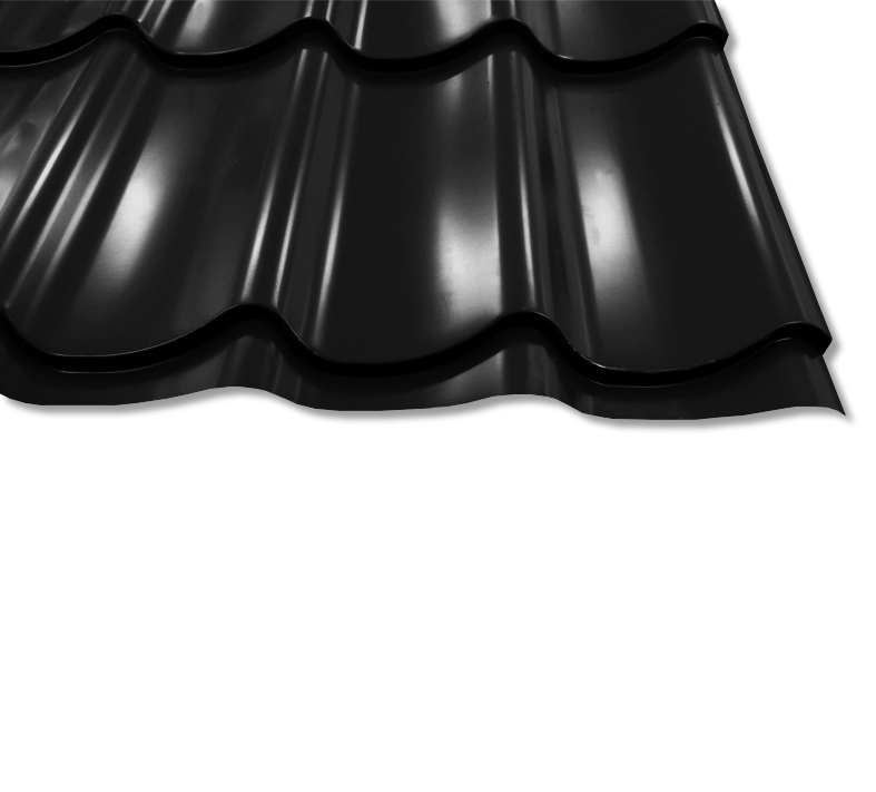 Pfannenblech Szafir 350/25 - 25 ym Polyester-Beschichtung - RAL9005 Tiefschwarz