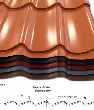 Pfannenblech Szafir 350/25 - 50 µm PURLAK Beschichtung - alle Farben - mit Querschnitt