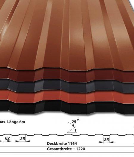 Trapezblech Wandblech T-8W/1164 - 50 µm PURLAK-Beschichtung - alle Farben mit Querschnitt