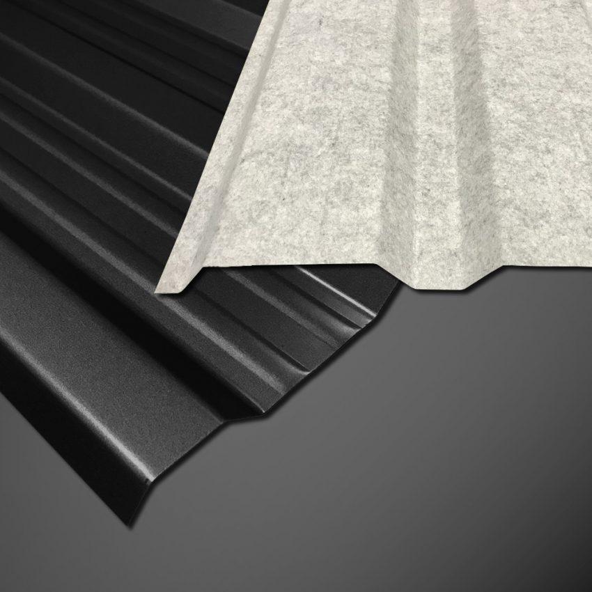 Trapezblech T-18DR/1100 - 25 µm Polyester - Schwarz auf schwarzem Hintergrund - mit Vliesbeschichtung