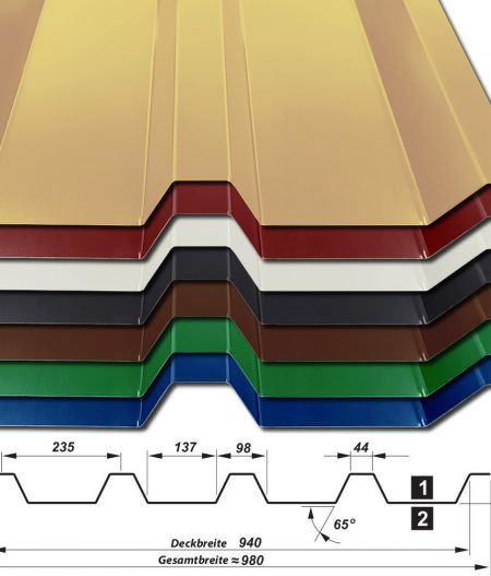 Trapezblech Hochprofil T-55/940 - 25 µm Polyester - alle Farben