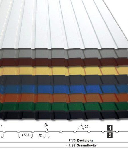 Trapezblech T-7W/1175 - 25 µm Polyester - alle Farben - mit Querschnitt