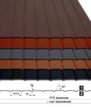 Trapezblech T-7W/1175 - 50 µm PURLAK - alle Farben - mit Querschnitt
