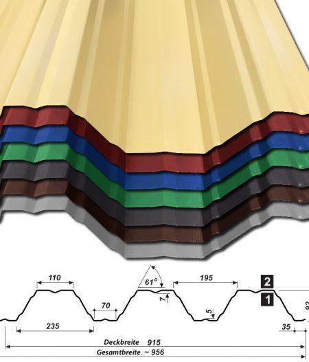 Trapezblech T-92/915 - 25 µm Polyester Beschichtung - alle Farben mit Querschnitt