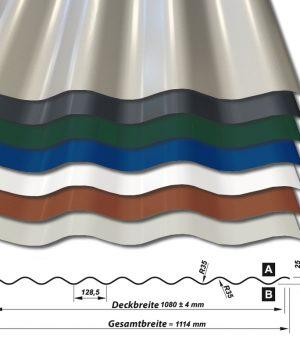 Wellblech Wellenblech Sinus W25-1080 - 25 ym Polyester-Beschichtung