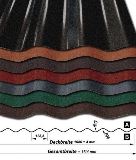 Wellblech Wellenblech Sinus W25/1080 - 35 ym Mattpolyester-Beschichtung - alle Farben mit Querschnitt