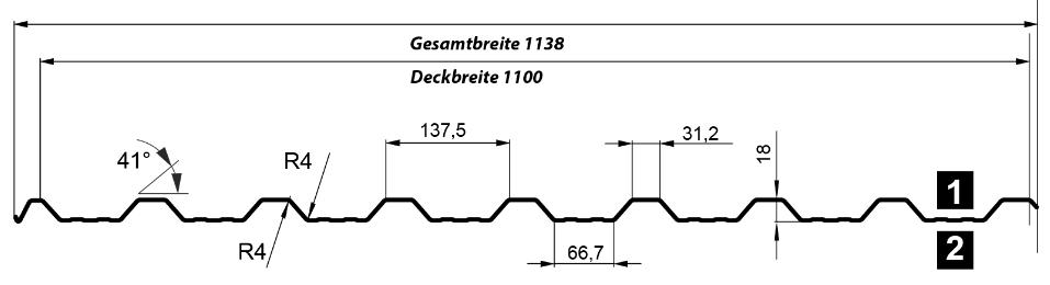 Trapezblech T-18DR/1100 - Querschnitt