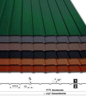 Trapezblech T-7W/1175 - 35 µm Mattpolyester - alle Farben mit Querschnitt