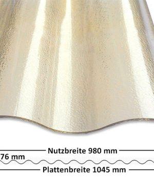 Lichtplatte 76/18 Sinus Polycarbonat 2,6 mm Bronze gekräuselt - mit Querschnitt