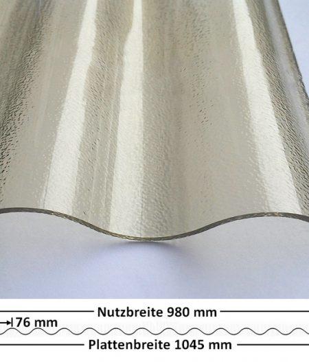 Lichtplatte Acryl 76/18 - HIGHLUX - bronze - 3 mm - C-Struktur mit Querschnitt