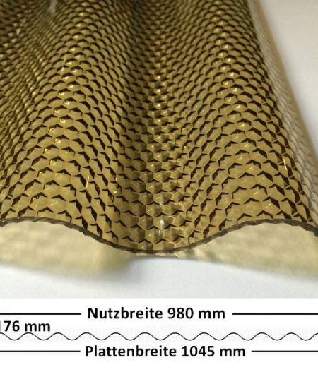 Lichtplatte Acryl 76/18 - HIGHLUX - bronze - 3 mm - Wabenstruktur mit Querschnitt