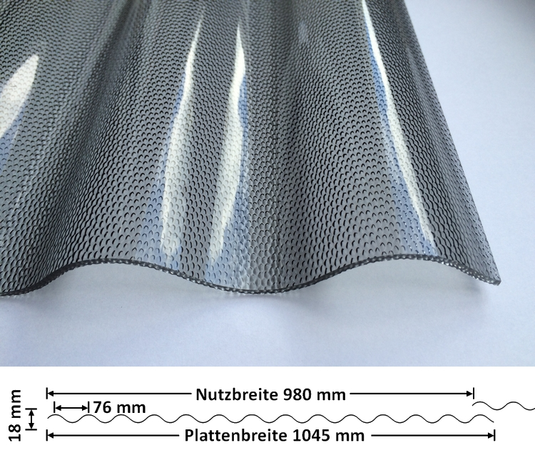 Lichtplatte Acryl 76/18 - HIGHLUX - graphit - 3 mm - Perlenstruktur mit Querschnitt