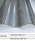 Lichtplatte Acryl 76/18 - HIGHLUX - graphit - 3 mm - Wabenstruktur - mit Querschnitt