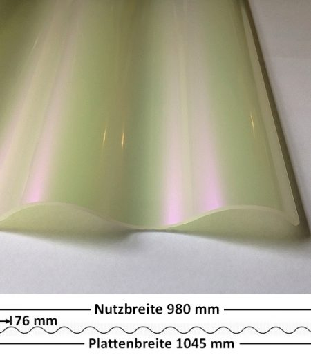 Lichtplatte Acryl 76/18 - HIGHLUX - sunstop weiß - 3 mm - glatt - mit Querschnitt