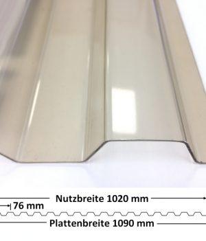 Lichtplatte PVC 70/18 bronze glatt 1,1 mm mit Querschnitt
