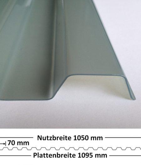 Lichtplatte PVC Ondex Sollux 70/18 Trapez transparent natur, mit Querschnitt