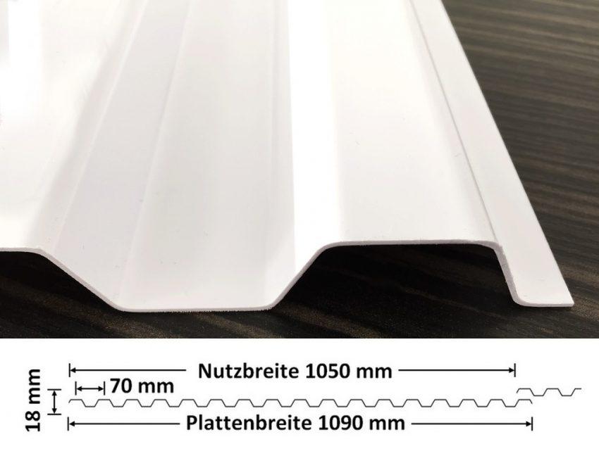 Lichtplatte PVC Ondex Sollux 70/18 Trapez weiß mit Querschnitt