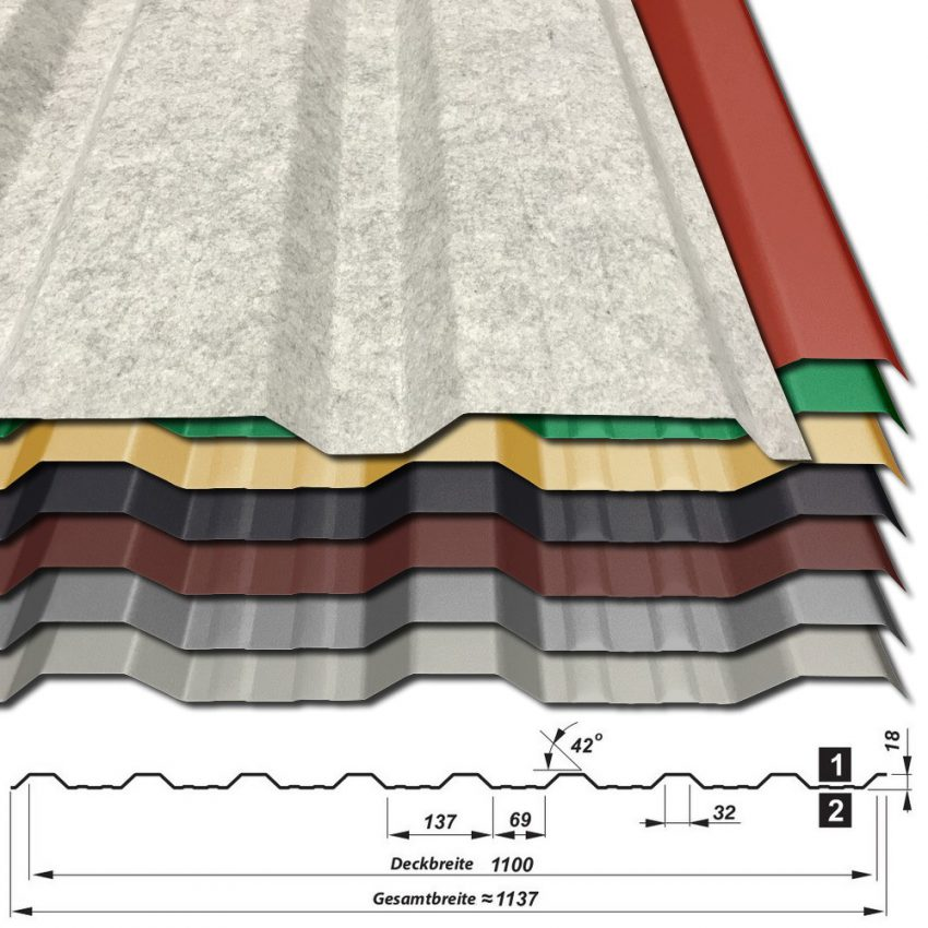 Trapezblech T-18DR/1100 - 25 µm Polyester - alle Farben - mit Vlies