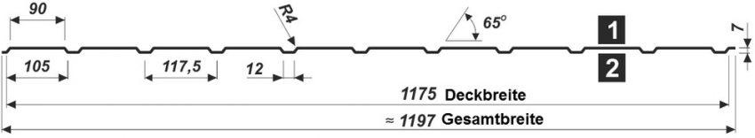 Trapezblech T-7W/1175 - Querschnitt