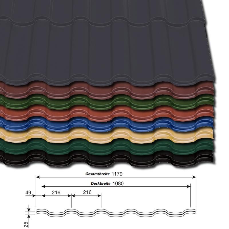 Pfannenblech Optima 350/25 - 25 µm Polyester-Beschichtung - alle Farben - mit Querschnitt