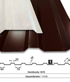 Trapezblech T-18M/1070 - 0,50 mm - 25 ym Polyester - RAL8017 Schokobraun - mit Vlies - mit Querschnitt
