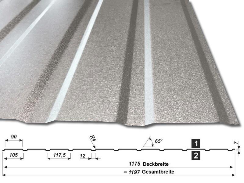Trapezblech T-7W-1175 - aluzink - mit Querschnitt