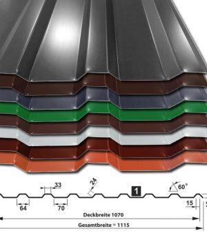 Trapezblech T-18M/1070 - Sonderposten ohne DIN & Garantie - alle Farben - 0,50 mm - 25µm Polyester
