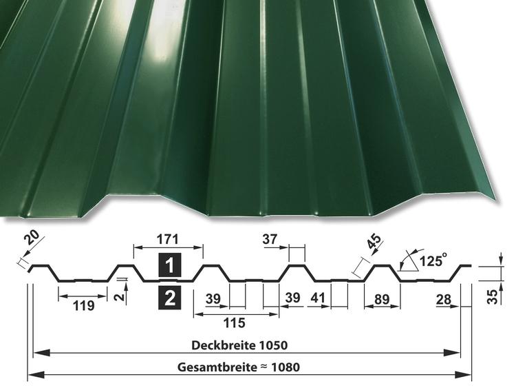 Trapezblech T-35DR/1050 - RAL6005 Moosgrün - mit Querschnitt