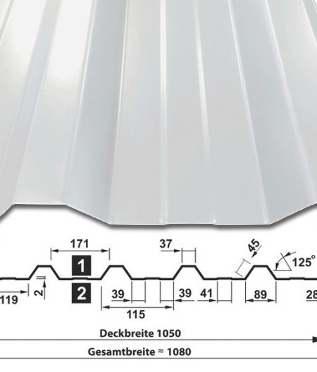 Trapezblech T-35DR/1050 - RAL9002 Grauweiß - mit Querschnitt