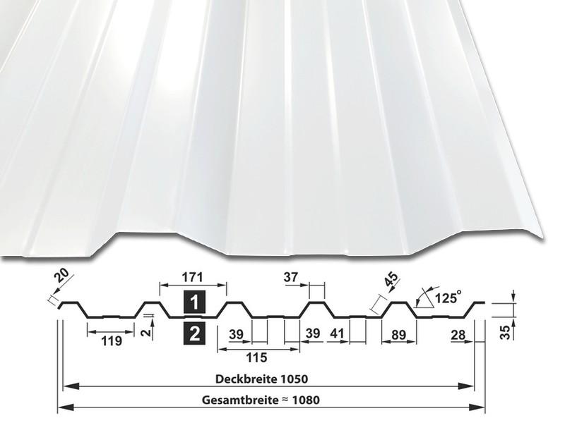 Trapezblech T-35DR/1050 - RAL9010 Reinweiß - mit Querschnitt